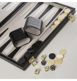 New School Backgammon Set Black Croc