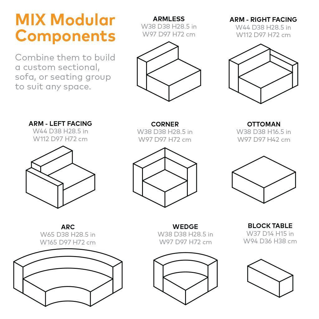 Mix Modular Sectional, Armless