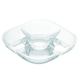 Happy Hour Square Chip and Dip Dish, Transparent