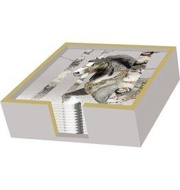Paper Products Design BEVERAGE NAPKIN HOLDER WOOD SILVER/GOLD
