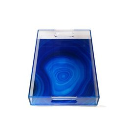 Deep Blue Agate Rectangular Tray 15x10.25x2.25