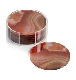 Orange Round Agate Coasters - Set of 6