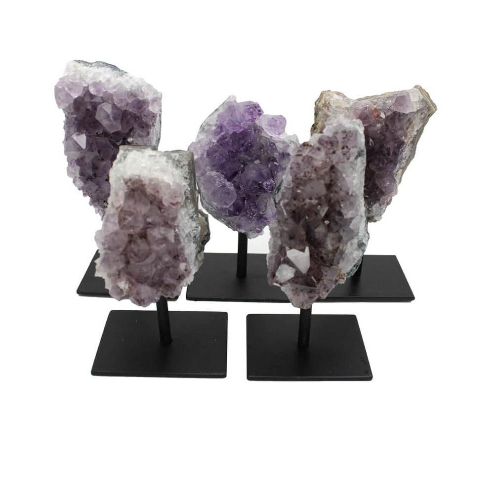 Rock Paradise Amethyst Cluster on Metal Stand