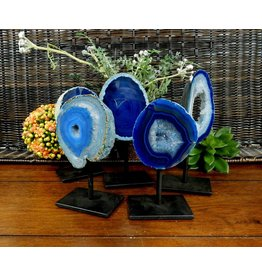 Rock Paradise Blue Geode on Metal Stand