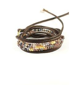 Mickey Lynn Ruby Sapphire Leather Wrap Bracelet
