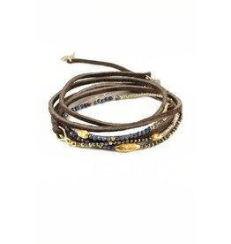 Mickey Lynn Sapphire and Pyrite Leather Wrap