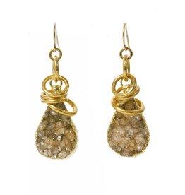 Mickey Lynn Druzy Wrapped in Gold Earrings