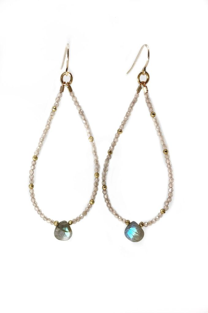 Mickey Lynn Zircon and Labradorite Beaded Hoops