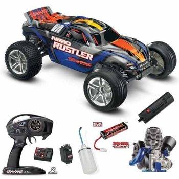 Traxxas 44096-3 1/10 Nitro Rustler 2WD w/TRX Silver/Blue