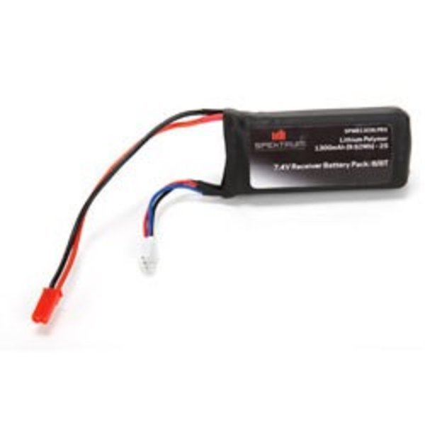 SPM 7.4V 1300mAh 2S 5C LiPo Rx Pack w/JST Connector