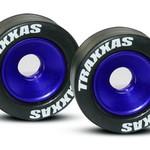 Traxxas 5186A Mntd Wheelie Bar Tires/Whls Blue (2)