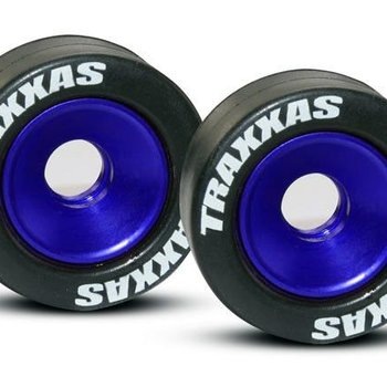 Traxxas 5186A Mntd Wheelie Bar Tires/Whls Blue (2)
