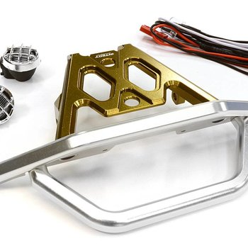 Integy BILLET MACHINED FRONT BUMPER SET W/ LED LIGHTS FOR AXIAL 1/10 YETI ROCK RACER C26043BRONZE