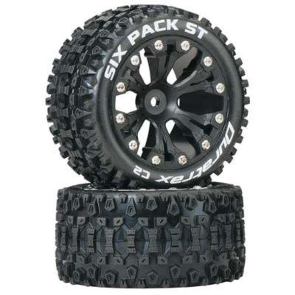 """DuraTrax Sixpack ST 2.8"""" Truck 2WD Mntd Rear C2 Blk (2)"""