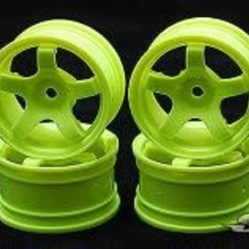 SWEEP Minis Pre-Glued Rubber tires set 33 deg - w/green wheels(4) #733511
