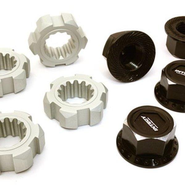 BILLET MACHINED 24MM WHEEL ADAPTERS & 17MM WHEEL NUTS FOR TRAXXAS X-MAXX 4X4 C27147BLACK