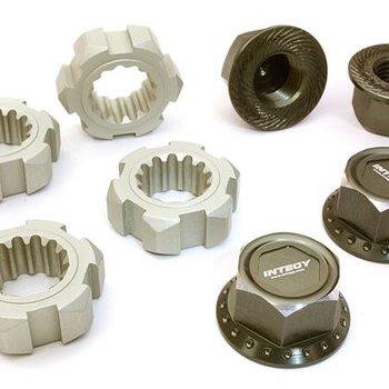 Integy BILLET MACHINED 24MM WHEEL ADAPTERS & 17MM WHEEL NUTS FOR TRAXXAS X-MAXX 4X4 C27147GUN