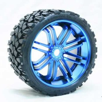 SRC Monster Truck Terrain Crusher Belted tire preglued on BLUE wheel 2pc set