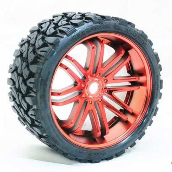 SRC Monster Truck Terrain Crusher Belted tire preglued on RED wheel 2pc set