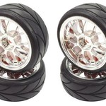 APEX APEX RC PRODUCTS 1/10 ON-ROAD CHROME MESH WHEELS & V TREAD RUBBER TIRE SET #5007