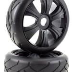 APEX APEX RC PRODUCTS 1/8 ON-ROAD BLACK AGGRESSOR WHEELS & SUPER GRIP TIRE SET #6024