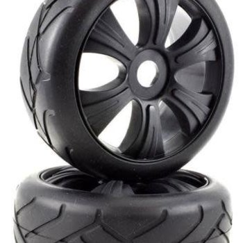 APEX APEX RC PRODUCTS 1/8 ON-ROAD BLACK AGGRESSOR WHEELS & SUPER GRIP TIRE SET #6024