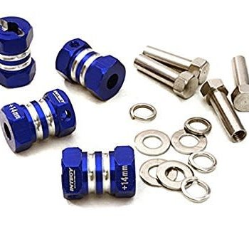 Integy 12MM HEX WHEEL (4) HUB +14MM OFFSET FOR 1/10 SCALE TRUCK & BUGGY C27013blue