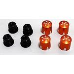 HOT RACING Aluminum Wheel Nut Caps and M4 Nuts (Orange) (4) - Mushroom Head