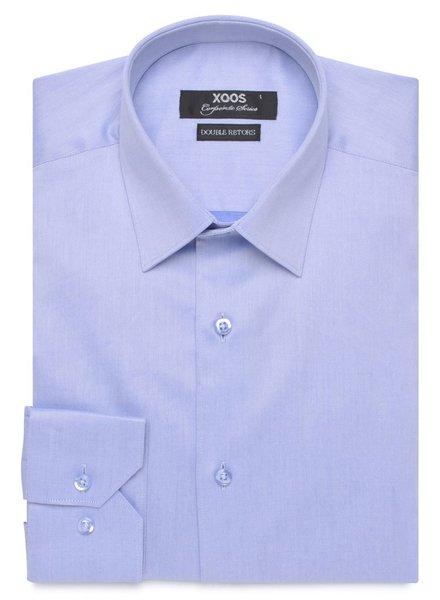 XOOS Sky blue gabardine turndown collar shirt (Double Twisted cotton)