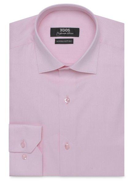 XOOS Chemise rose poignets simples en coton piqué