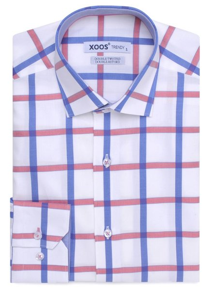 XOOS CLASSIC FIT sky blue and pink checkered shirt (gingham lining)