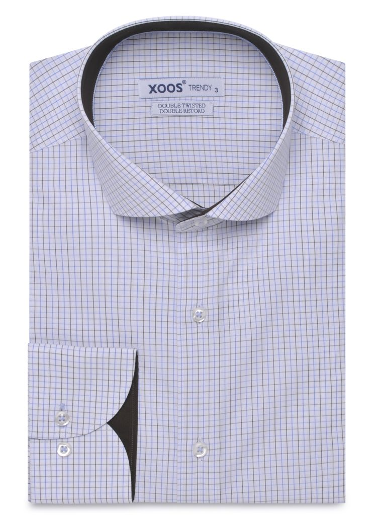 Classic Fit Blue Checkered Full Cutaway Collar Shirt