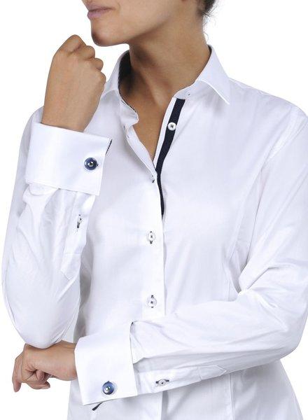 XOOS Chemisier femme blanc à poignets mousquetaire doublure navy