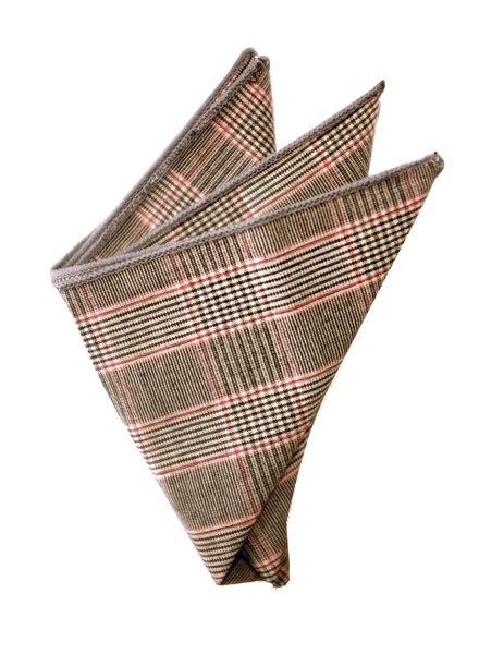 Pochette de costume Prince de Galle gris et rouge