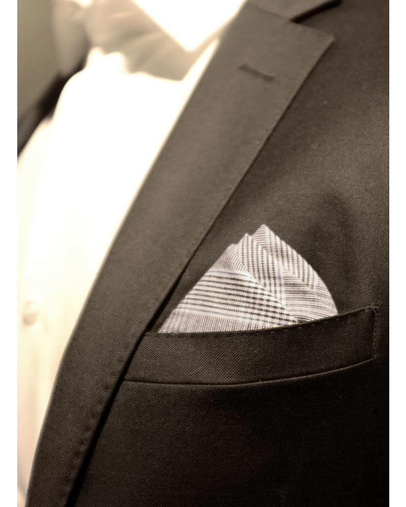 Pochette de costume Prince de Galle gris et bleu