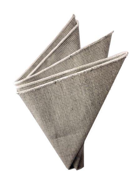 Pochette de costume gris bordure blanche
