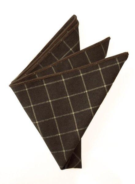 Pochette de costume chocolat à carreaux