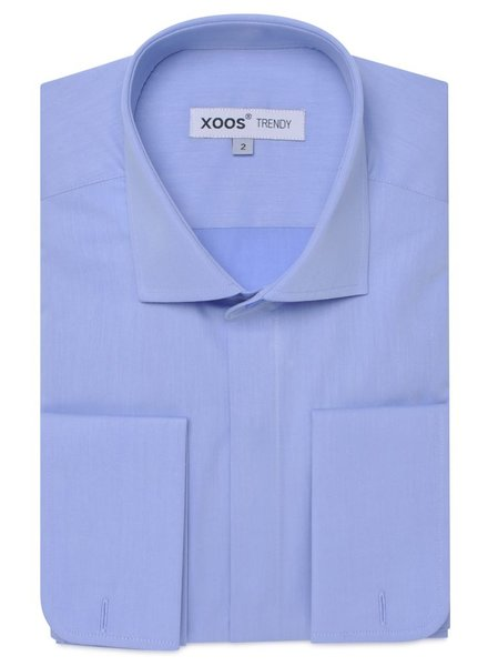 XOOS Blue French-cuffs dress shirt