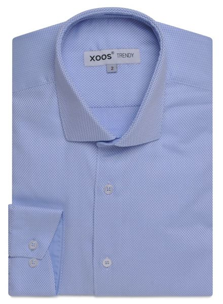 XOOS CLASSIC FIT light blue honeycomb shirt