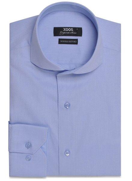 XOOS Men's light blue full spread collar dress shirt