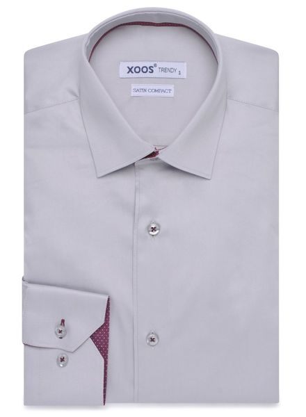 XOOS CASSIC-FIT light gray dress shirt burgandy polka dot braid