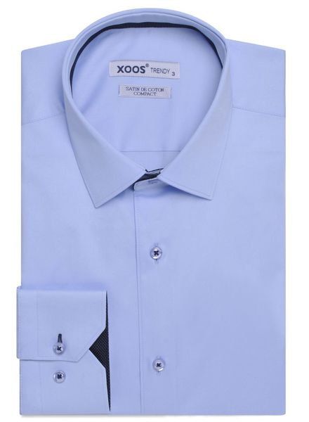 XOOS CLASSIC-FIT light blue shirt navy polka dot lining