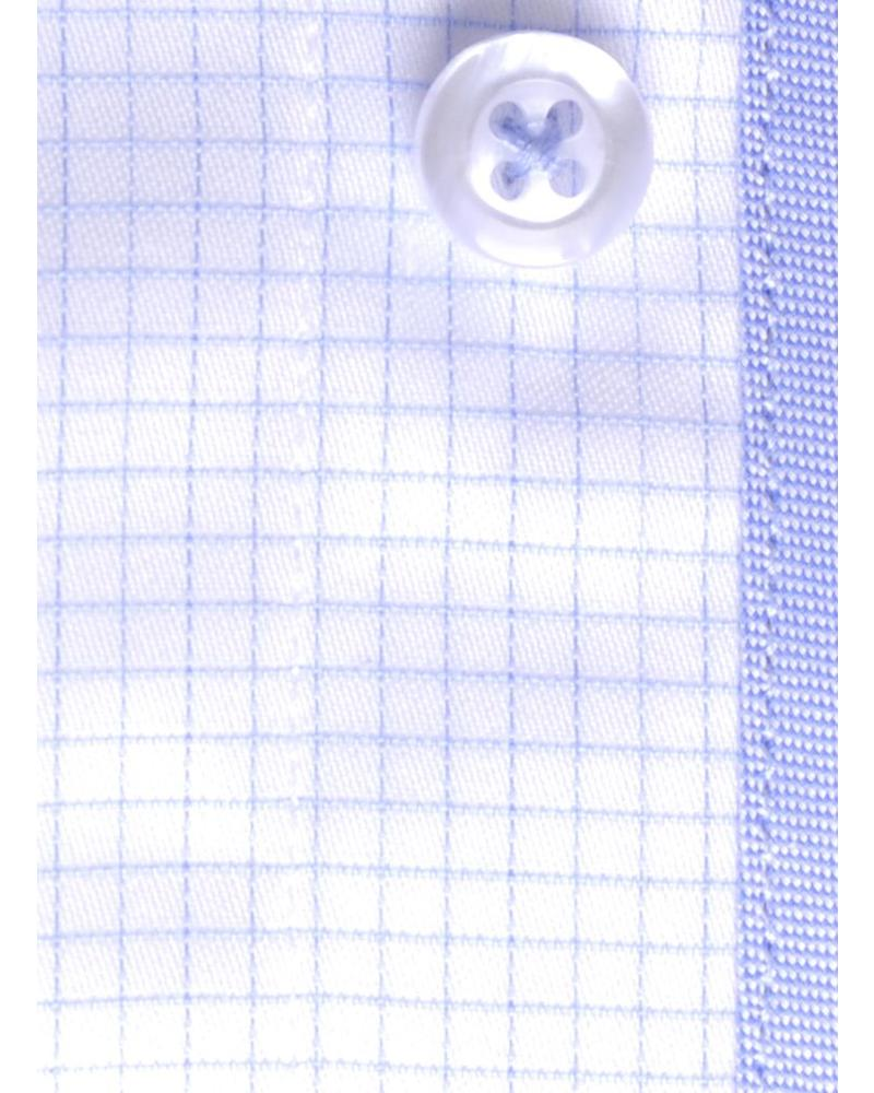 XOOS Fine blue French cuffs checkered shirt (Double twisted)