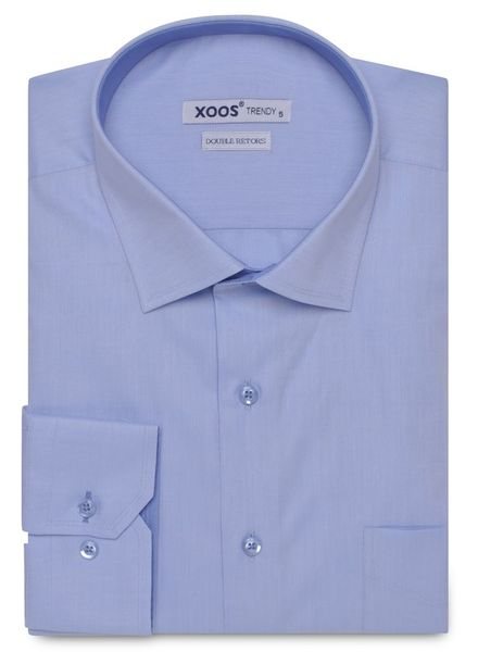 XOOS CLASSIC-FIT light blue woven cotton shirt (Double Twisted)