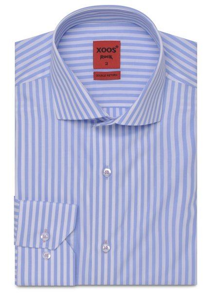 XOOS CLASSIC-FIT light bluestriped shirt (Double Twisted)