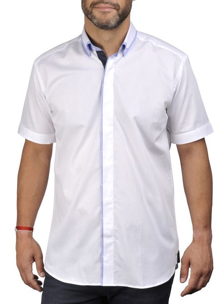 XOOS CLASSIC FIT short sleeve and hidden placket white shirt