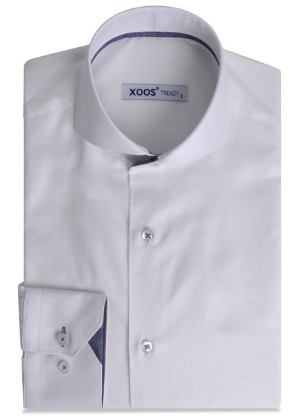 XOOS White fitted dress shirt blue gingham lining