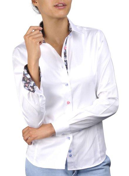 XOOS Chemisier femme blanc à boutons colorés et doublure à fleurs assortie