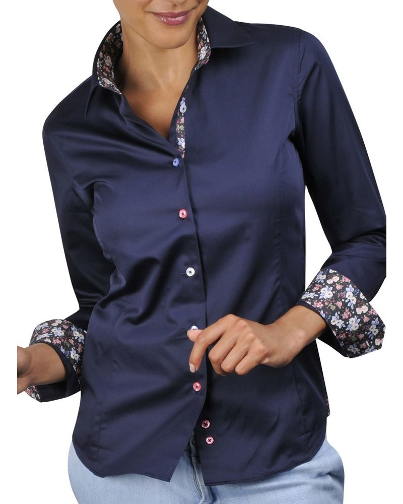 Navy blue WOMAN colored buttons dress shirt (Floral braid) - XOOS.CA