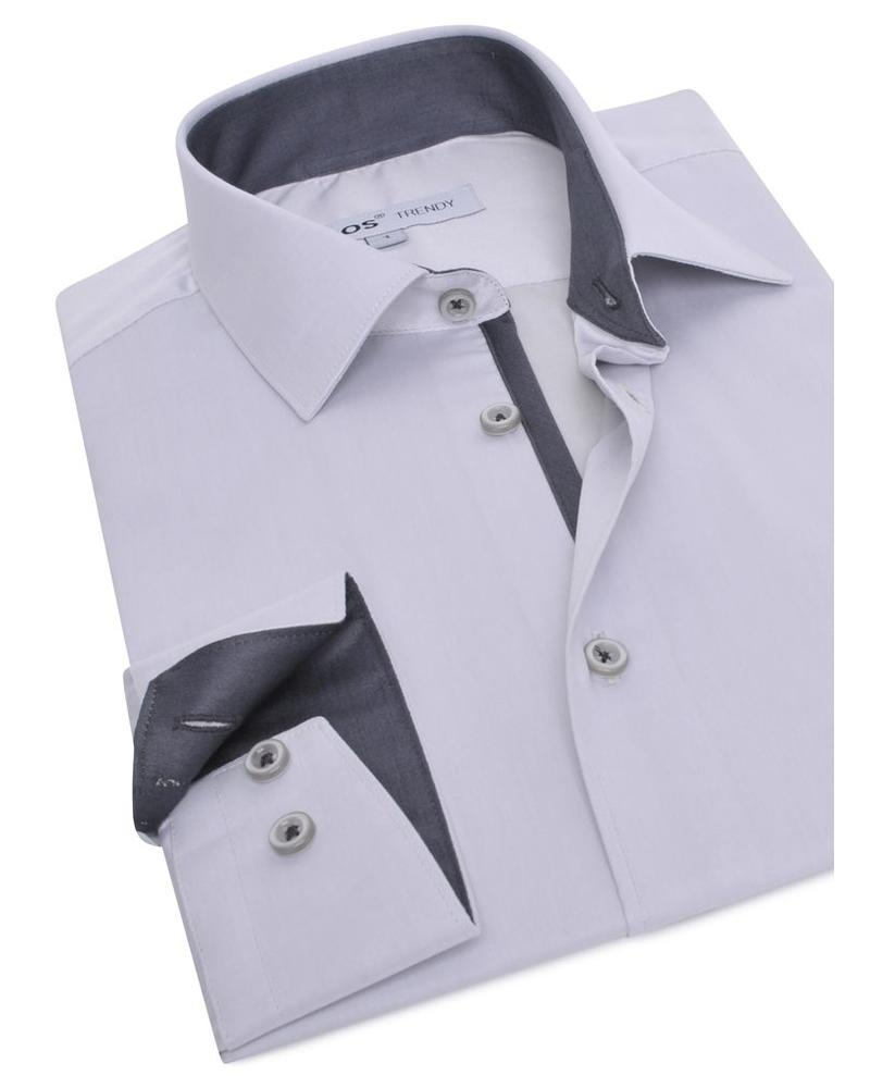 XOOS CLASSIC-FIT light gray dress shirt dark gray lining